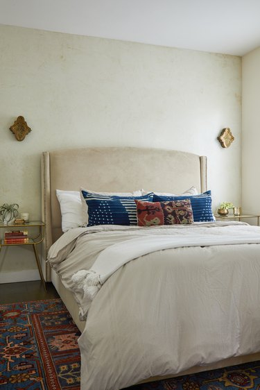 Bedroom with vintage rug and bohemian decor