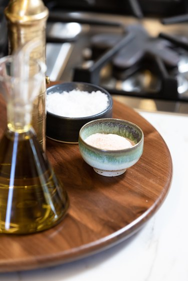 Lazy Susan with saltcellars and olive oil