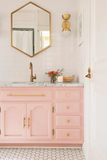 marble bathroom countertop in pink bathroom