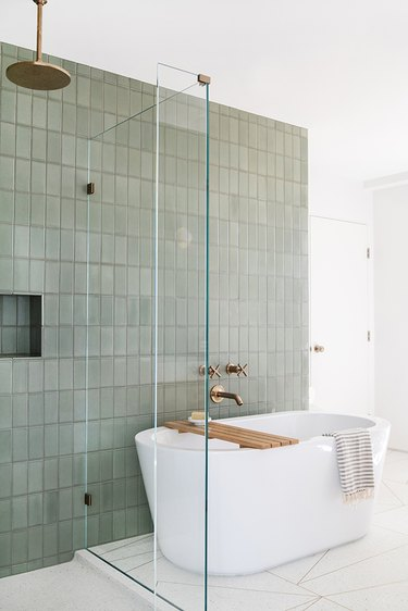 bathroom fittings in green and white space