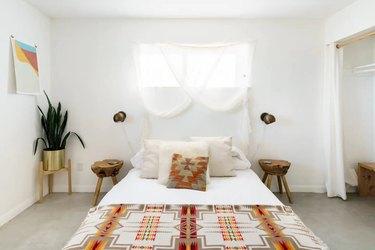 Minimal, desert-chic bedroom