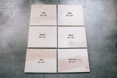 Six pieces of plywood cut