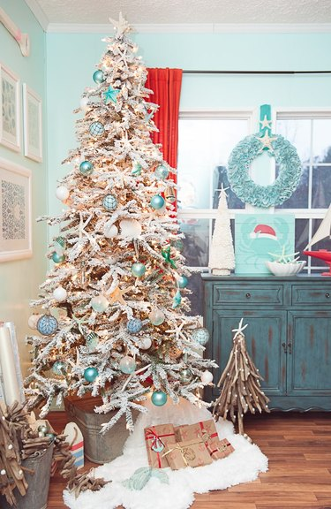 blue and white coastal Christmas tree with sea rornaments
