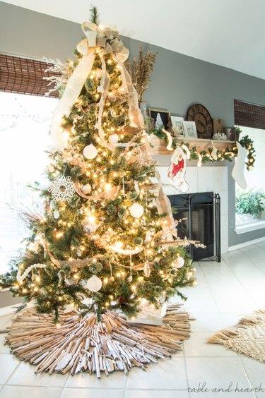 coastal Christmas tree with driftwood base