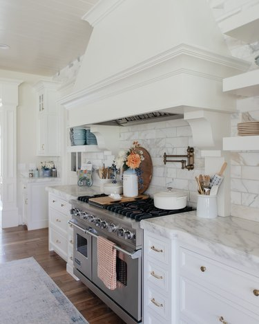 fall kitchen decor in white kitchen with flowers in vase