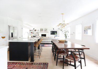 Midcentury kitchen style with atomic chandelier and vintage decor