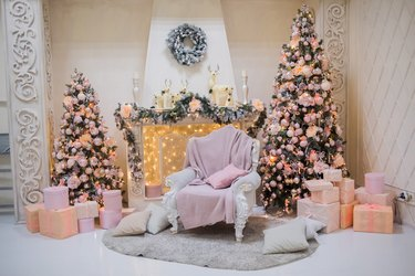 Christmas Tree Decoration Ideas with two trees and pink ornaments