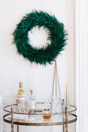 green Peacock feather Christmas wreath by Apartment 34