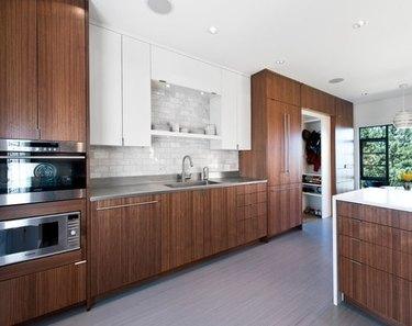 wood linoleum kitchen flooring with wood cabinets