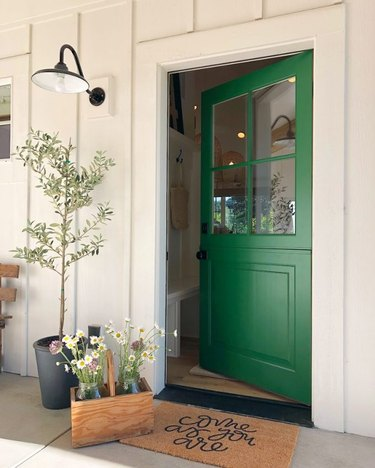 Bright green exterior house paint on front door with white exterior and black barn light