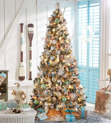 eclectic coastal Christmas tree with sea ornaments
