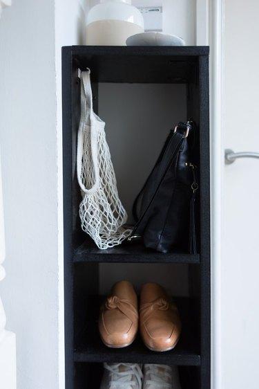 A skinny shoe rack