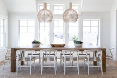 white dining room in beach house