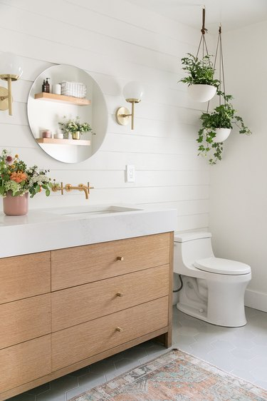 hanging plants in white bathroom above toilet
