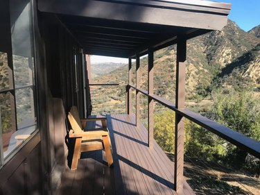 Wooden porch overlooking mountains