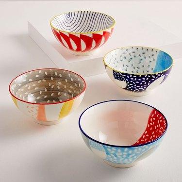 West Elm Hand-Painted Pattern Pop Bowls