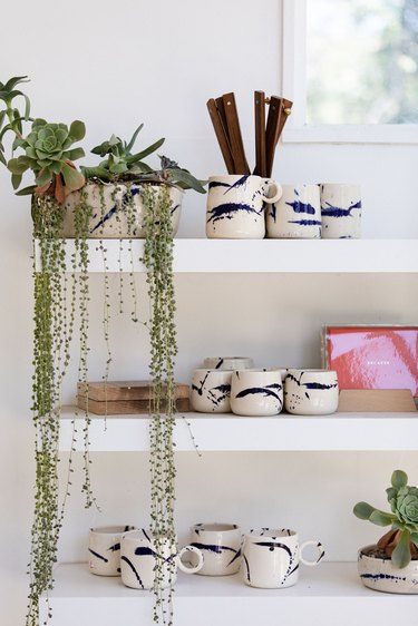 String of pearls plant on shelf with ceramics