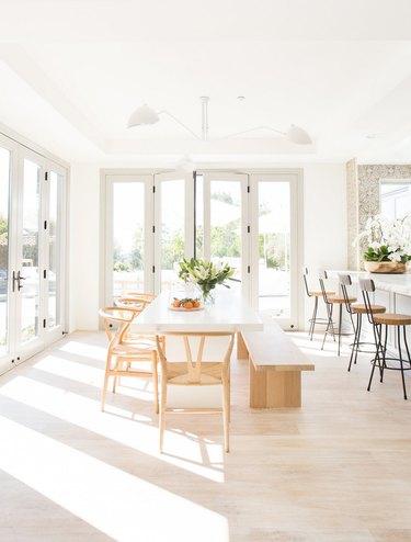 white dining room with minimalist decor