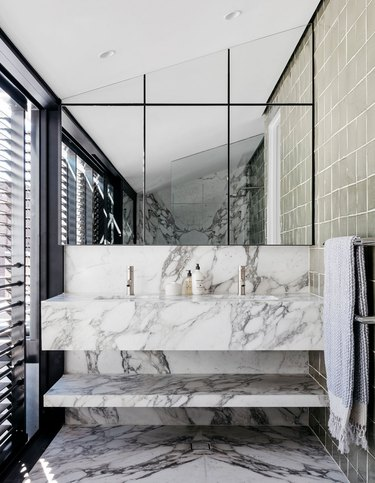 Modern bathroom sink with gray and white marble