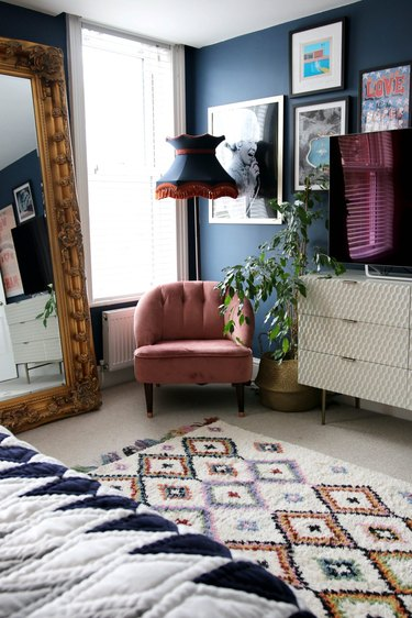 navy blue bohemian bedroom