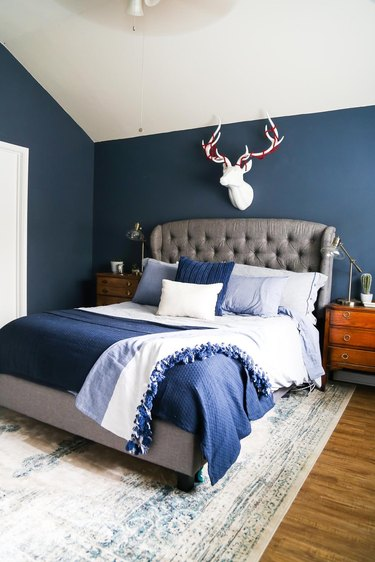blue bedroom with blue bedding
