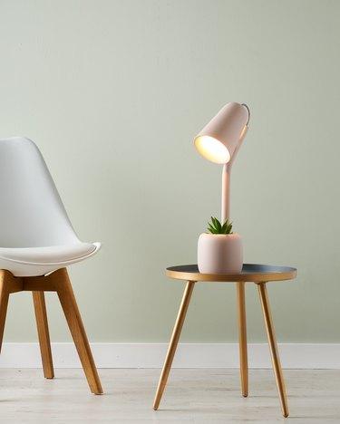 table lamp near chair
