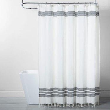 Target Threshold Strip Fringe Shower Curtain