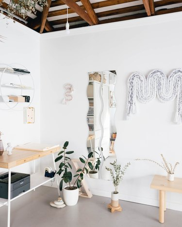studio space with wall hangings