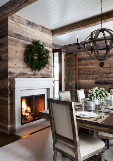 Wooden walls in rustic dining room