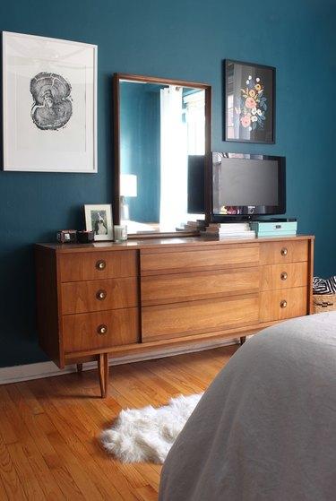 blue-green midcentury bedroom