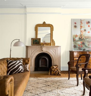 cream color wall in living room with mantle
