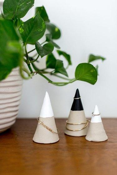 DIY Faux Concrete Jewelry Cones