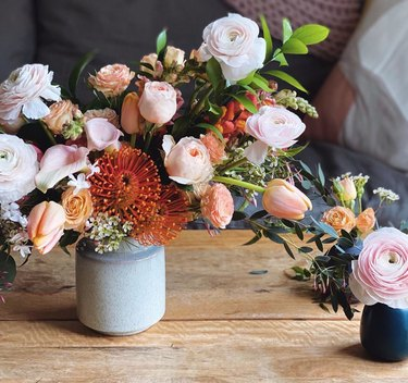 trio of vases featuring pastel fall flower arrangements