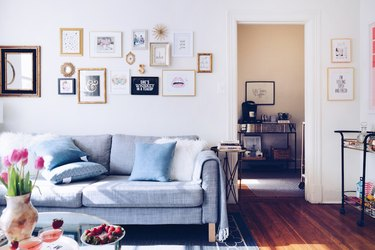 gallery wall with printables and photos