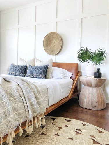 coastal bedroom with lots of textured elements