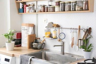 peel and stick faux tile backsplash in kitchen