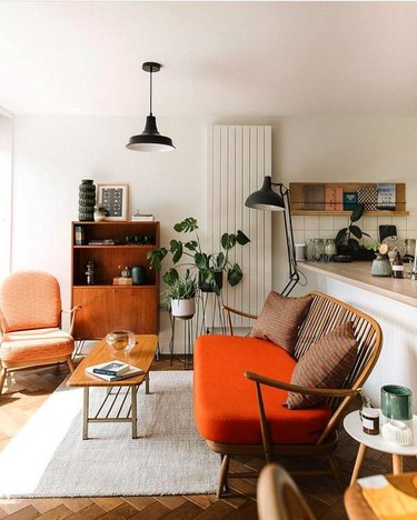 vintage midcentury modern furniture in living room