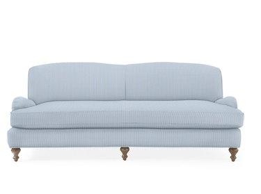 french blue seersucker stripe traditional sofa
