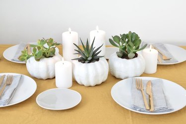 DIY fall decor idea pumpkin-shaped planter with succulents