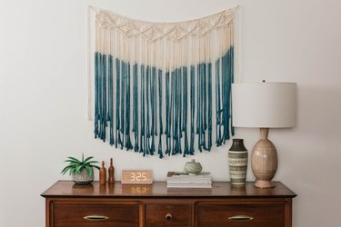 blue room ideas with ombre dyed macrame wall hanging