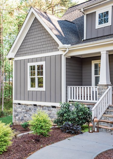 cottage with gray exterior paint