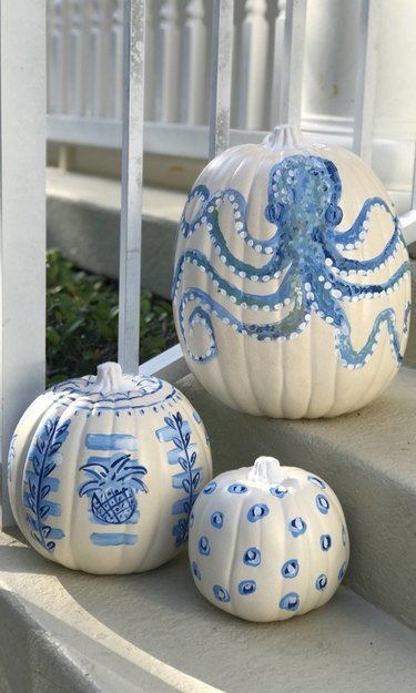 Coastal style blue and white pumpkins with an octopus and coastal details