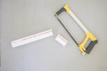 PVC pipe cut with hacksaw