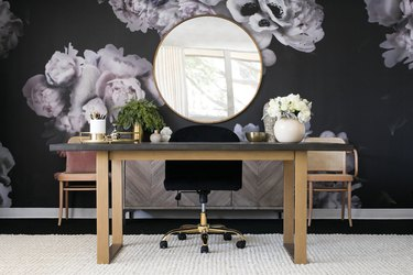 floral wallpaper in a home office