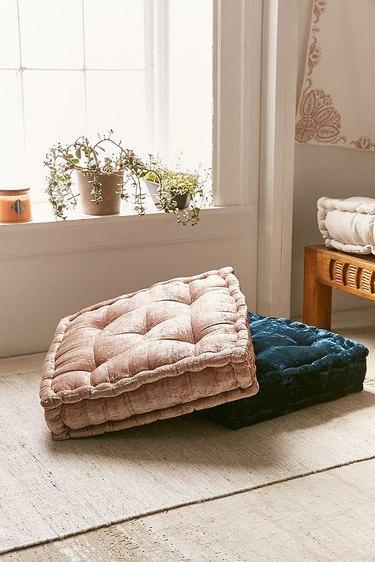 velvet floor pillow