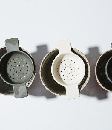 earthenware tea strainer