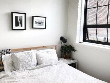 industrial bedroom with black steel frame windows