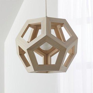 geometric wood pendant light