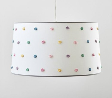 drum pendant ceiling light with pastel French knots