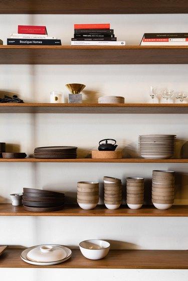Wood shelves with ceramics